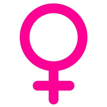 sticker of pink female sex symbol with shadow